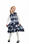 Dientje checked little layers dress blue/white